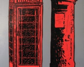 Fridge Magnets - Postbox and Telephone Box - Original Lino Prints