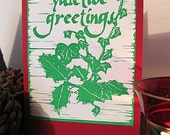 Pack of 6 Holly and Ivy Yuletide cards - Original Lino Prints
