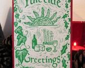 Pack of 6 Yuletide Meal Greetings Cards - Original Lino Prints