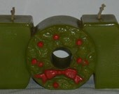 Vintage Christmas Hallmark JOY Wax Candle Green