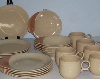 Mid Century California Pottery Will Willard George Plates Bowls Cups Terra Cotta Leaf and Peach