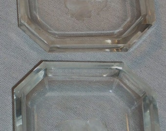 Intaglio Cut Glass Cupid Angel Salt Pin Tray Almond Dish Ashtray Ashette