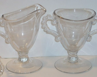 Imperial Candlewick Glass Tall Sugar Creamer and Cups and Saucers