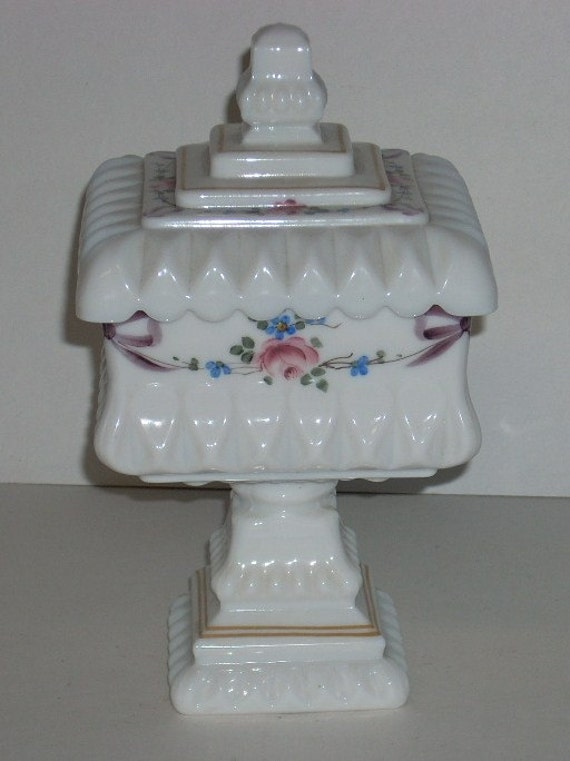 reserved for Francine Westmoreland Milk Glass Roses and Bows Ribbons Square Wedding Compote Box Bowl Jar