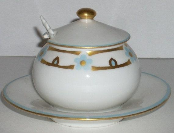 Art Deco Limoges Mustard Jar with Spoon France T and V Porcelain