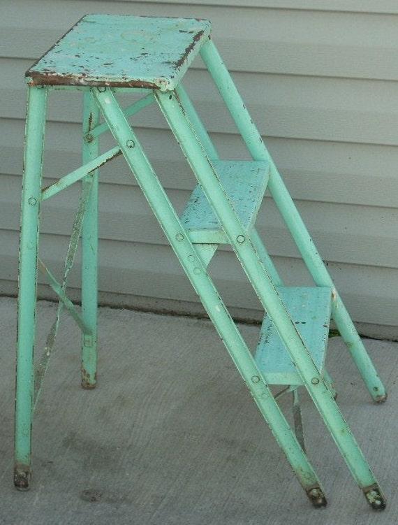 Vintage Aqua Turquoise Metal Step Ladder By Diantiques On Etsy