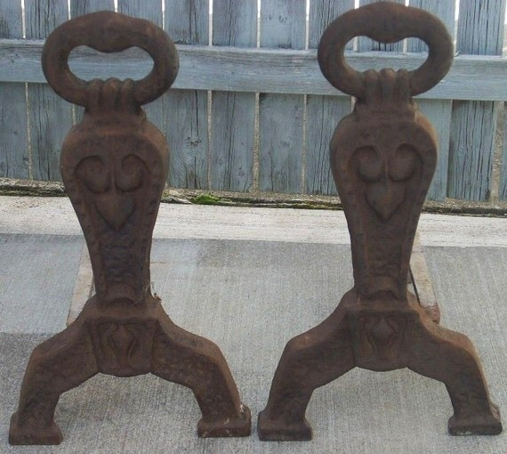 Reserved For Brenda Fireplace Cast Iron Andirons Keyhole And