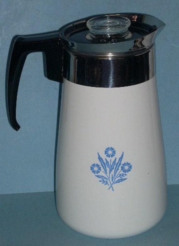 Corning Corelle Blue Cornflower 9 Cup Stovetop Percolator