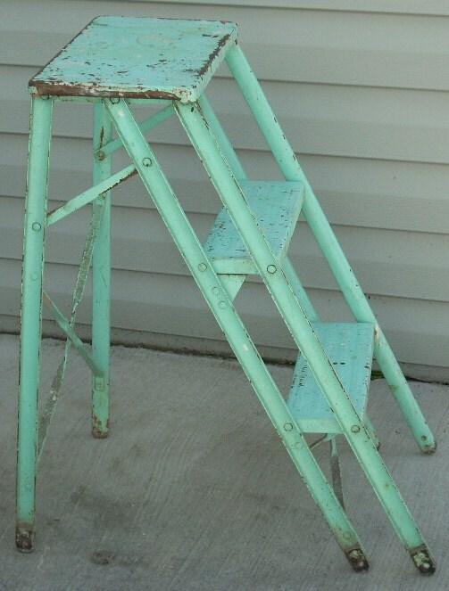 Vintage Aqua Turquoise Metal Step Ladder