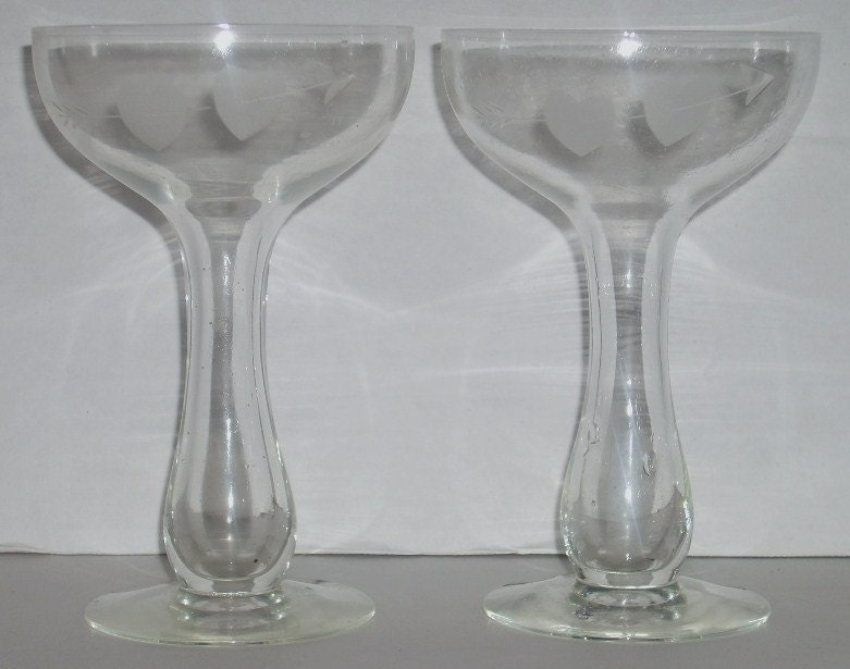 Pair hollow stem champagne glasses with hearts arrows - Champagne flutes hollow stem ...