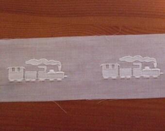 Swiss Cotton Embroidrey- White insertion trim - Embroidered Trains - white on white