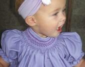 Smitten, hand smocked bishop dress, size newborn-4T