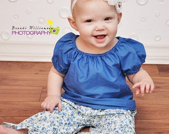 Solid color cotton peasant top (several colors to choose from), size 6mos.-10 girls