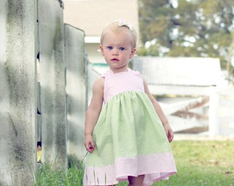 Sweet Sentiments, reverse knot dress, size 6mos.-10 girls (8 colors to choose from)