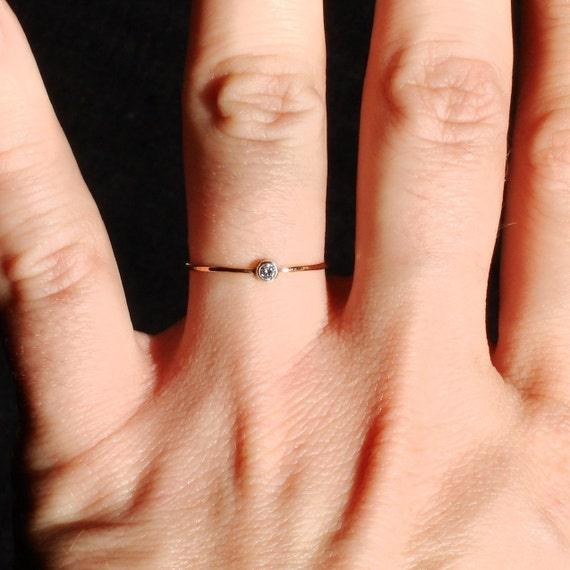 Choose a Stone on a Thread of Gold - Tiny Hammered Stack Ring with Sterling Silver Set Faceted Stone - Delicate Jewelry