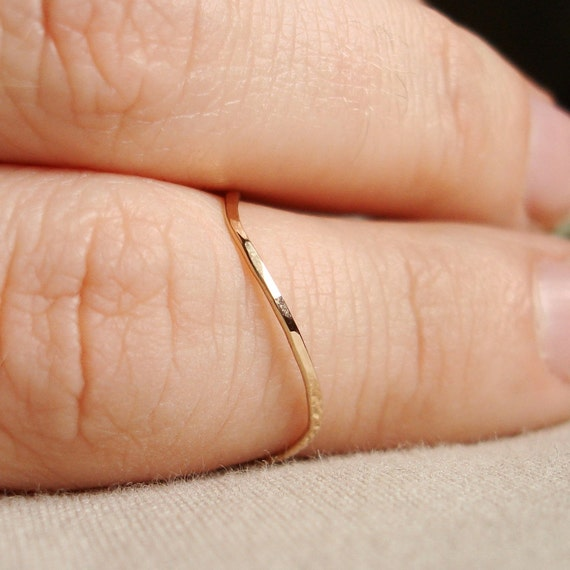 Thread of Gold - A Wave - Tiny Hammered Stack Ring - Delicate Jewelry - Finger Tip Ring