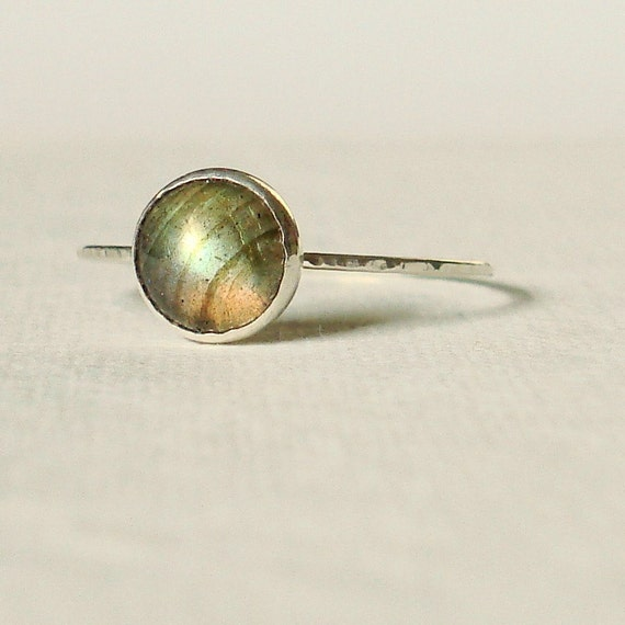 Satellite Ring - Simple and Sweet Labradorite Stack Ring - Choose Yellow Pink or Silver Band - Delicate Jewelry