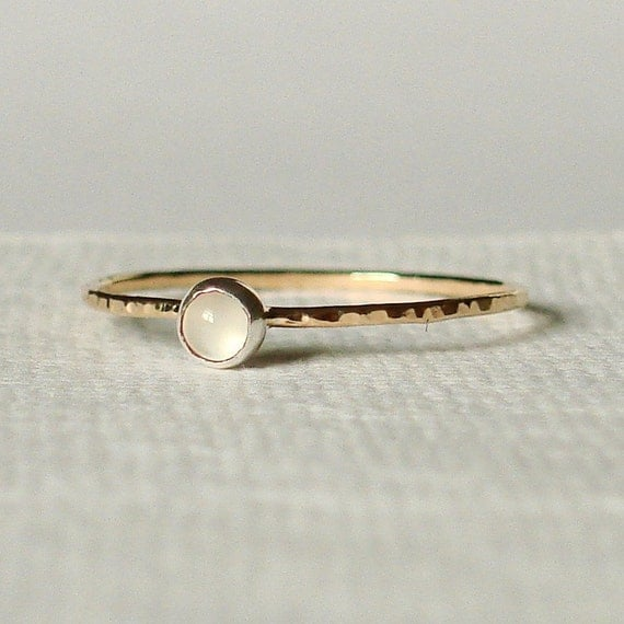 READY TO SHIP - Size 3 and a Half - Simple and Sweet Skinny Moonstone Stacking Ring - Thin Delicate Jewelry