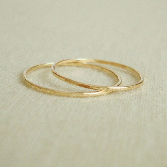 Two Threads of Gold - Rose or Yellow - Wavy or Straight - Tiny Stacking Rings - Delicate Jewelry