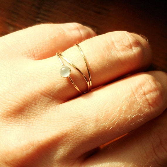 Choose Stone - Orb Set of Three Threads - Thin Tiny Skinny Stacking Rings - Yellow or Rose Band - Delicate Skinny Stack Rings