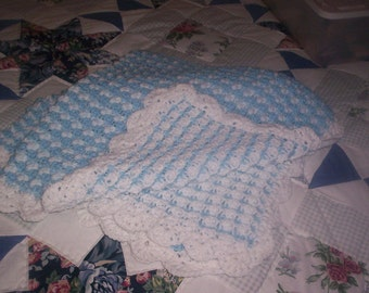 Blue and White Crocheted Baby Afghan
