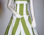 Reserved for Chickah Lime Green Striped Summer Two Piece Dress