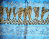 Royal India... Vintage Silk Shawl in Peacock Blue Gold