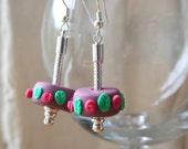Pandora style earrings with plum handmade beads