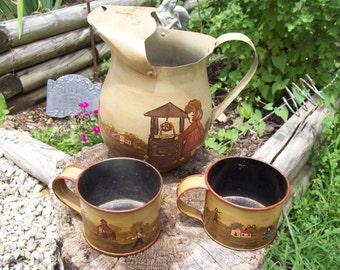 Primitive Art Painted Pitcher 2 Cup Mug Amish Children Shabby Kitchen Vintage