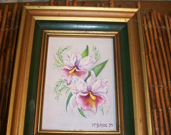 Vintage Painting Pink Flowers Iris Signed McBride 75 Shabby Country