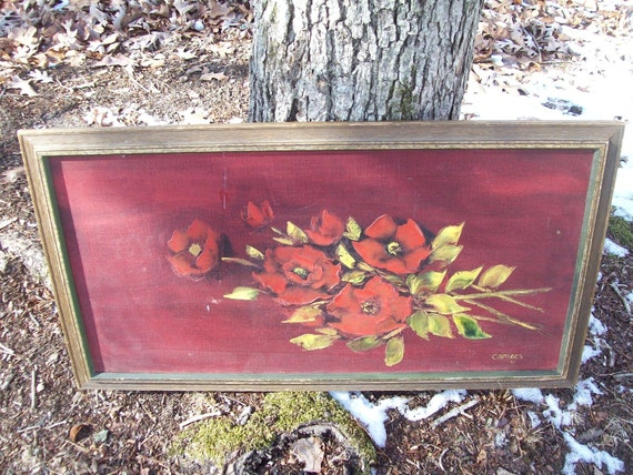 Shabby Red Flowers Roses Oil Painting vintage retro Original Signed