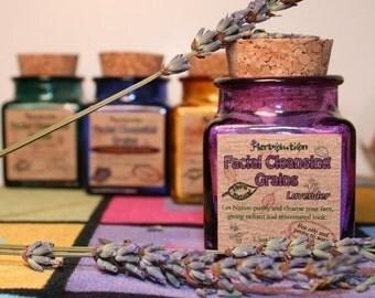 Organic Lavender Facial Cleansing Grains scrub polish eco-friendly. Organic Vegan Scrub.
