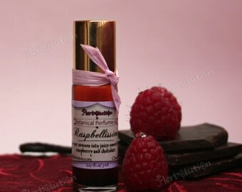 Organic Raspberry Chocolate Perfume Oil - Botanical Vegan fragrance with Natural aroma - Raspbelissimo