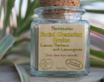 Organic Face Scrub Lemongrass Lemon Verbena polish natural in a recycled glass jar VEGAN 1 oz