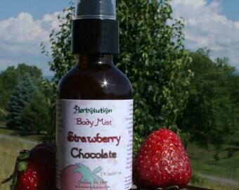 Strawberry Chocolate Body Spray Refreshener Natural Botanical Fragrance Vegan 2 or 4 oz