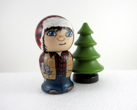 Lumberjack Girl Kokeshi Doll and Tree Woodsgirl/ Tree Hugger with a squirrel in her pocket