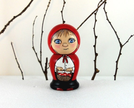 Little Red Riding Hood Kokeshi Doll Handpainted Wooden
