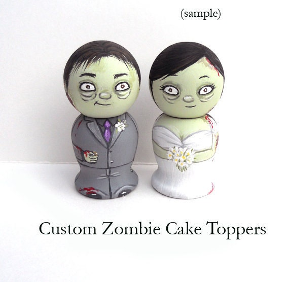 Custom Zombie Wedding Cake Toppers/ Keepsakes