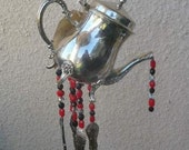 TEAPOT Wind Chimes Vintage Silverware and Beads