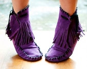 Soft Hand Made to Order Ankle Fringe Wrap Booties in 8 Different Color Choices