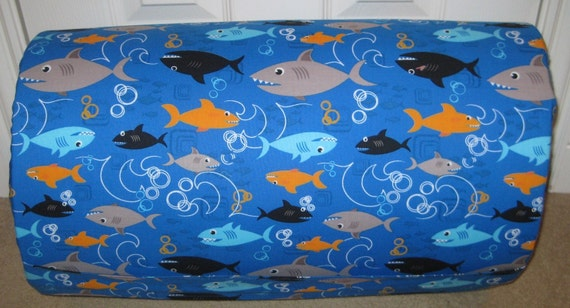 MONOGRAMMED Childrens THICK and COMFY  Nap Mat Pre School Boy Sharks with Attached Cuddle Double Sided Minky Blanket and Pillow