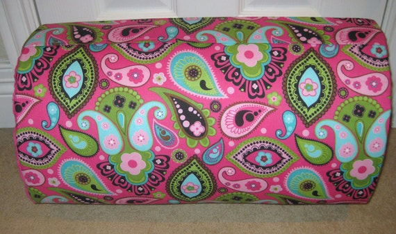 Only One MONOGRAMMED Children THICK COMFY Nap Mat PreSchool Hot Pink/Turq/Green Paisley w/Attached Cuddle Double Sided Minky Blanket Pillow