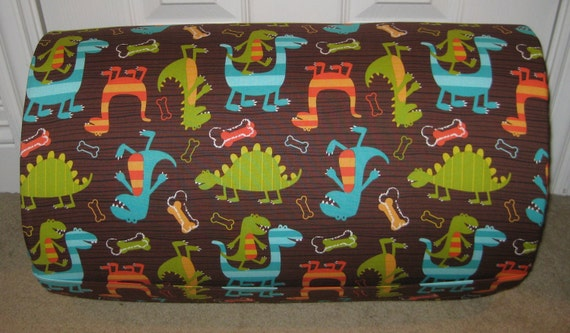 MONOGRAMMED Children THICK COMFY Nap Mat PreSchool Dino Dudes w/Attached Cuddle Double Sided Minky Blanket Pillow