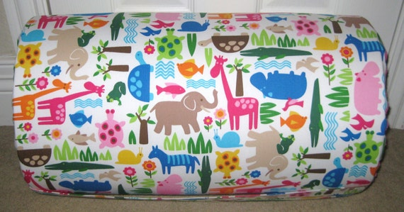 MONOGRAMMED Children THICK  COMFY Nap Mat PreSchool Bright Animals and Flowers with Attached Cuddle Double Sided Minky Blkt and Pillow