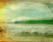 Wave breaking in the Ocean.Retro Pipeline. Fine Art Photography.