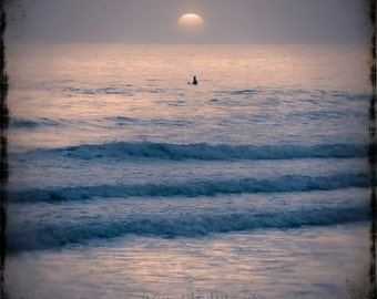 Surfer at sunset. Fine Art Photography.