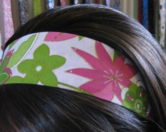 White w/ Lime Green and Pink Flowers on Stay Put Headband
