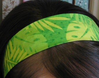Lime Green Safari Leaves on a Stay Put Headband
