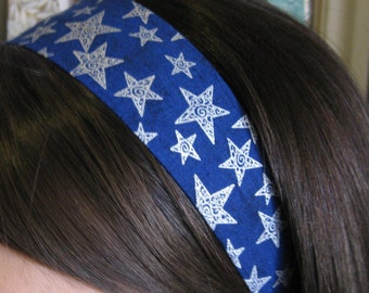 Dark Blue Stay Put Headband w/ Silver Stars