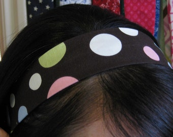 Chocolate Brown Stay Put Headband w/ Pastel Polka Dots